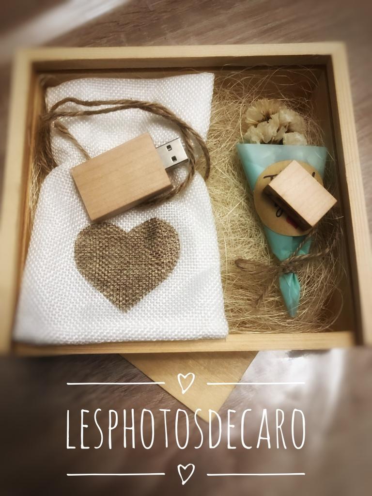 Photos de mariage coffret en bois